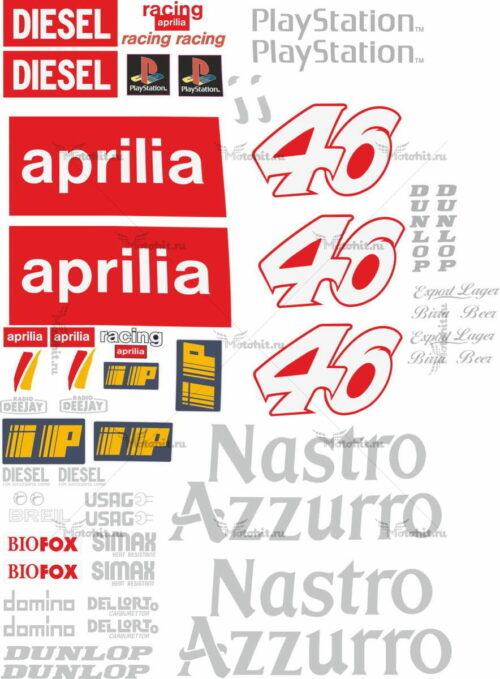 Комплект наклеек Aprilia RS-50 RS-125 ROSSI 1999