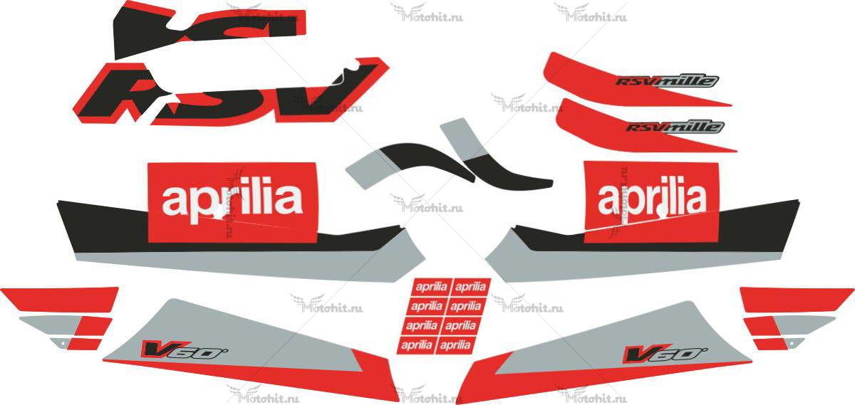 Комплект наклеек Aprilia RSV-1000 MILLE 2001