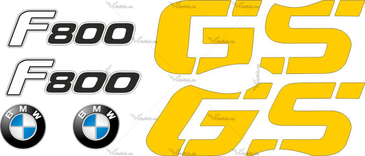 Комплект наклеек BMW GS-800-F 2008 YELLOW