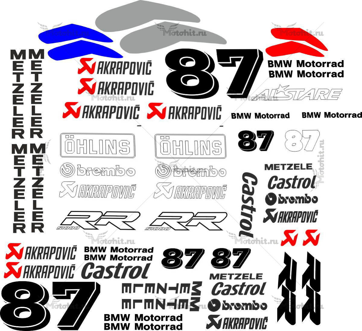 Комплект наклеек BMW S-1000-RR 87-CASTROL