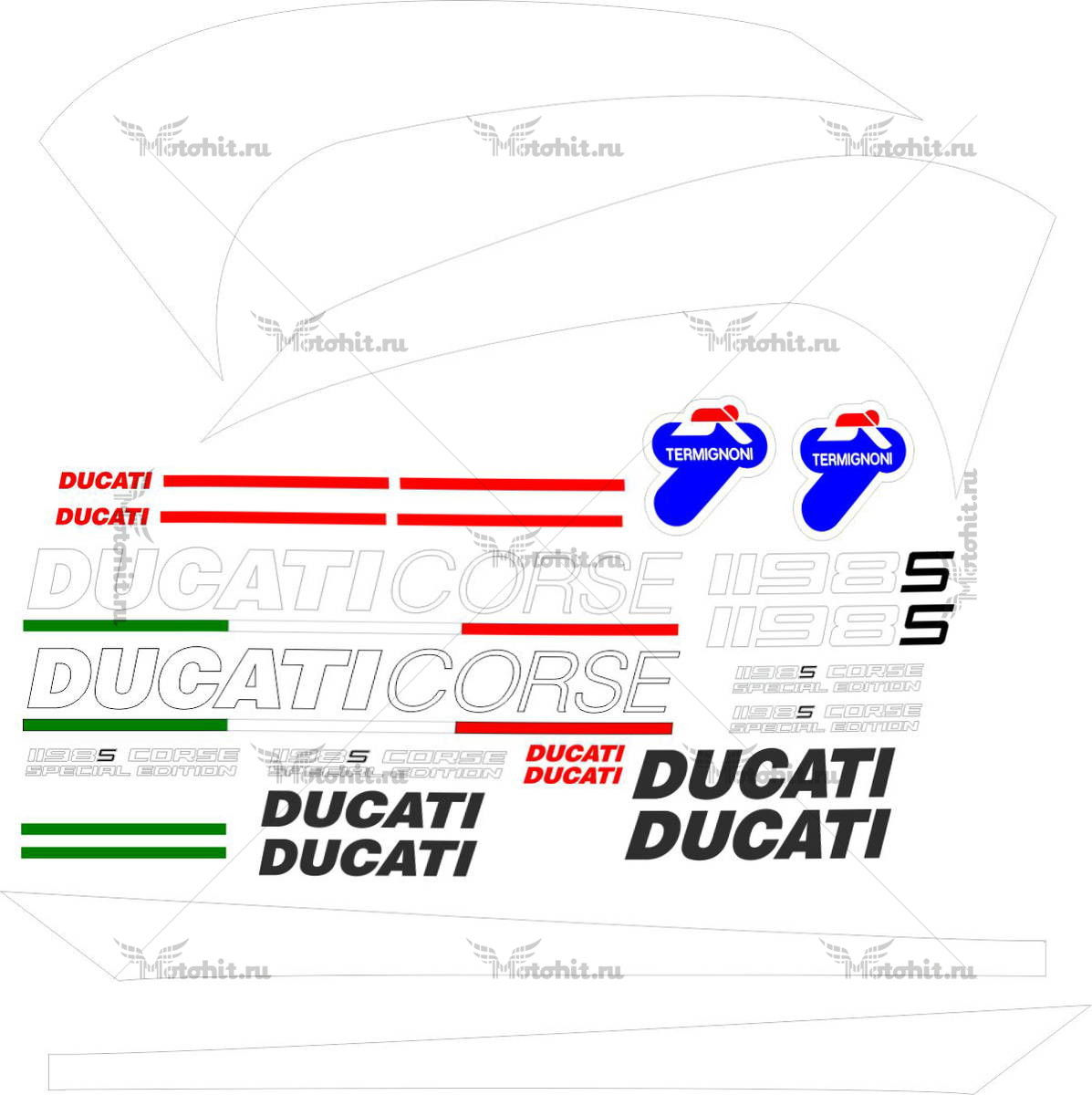 Комплект наклеек DUCATI 1198-S ~2007 SPECIAL-EDITION