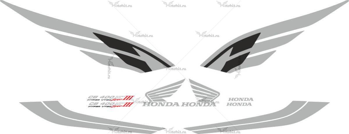 Комплект наклеек Honda CB-400 2004 VTEC-3 SILVER