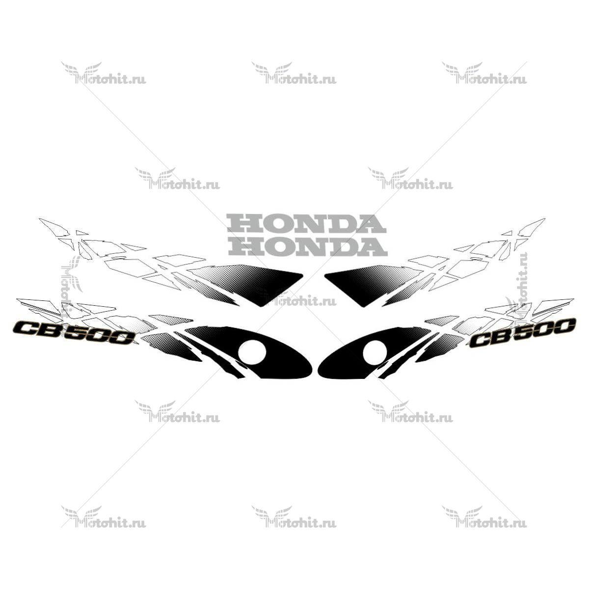 Комплект наклеек Honda CB-500-Е 1993-2003 BLACK-WHITE