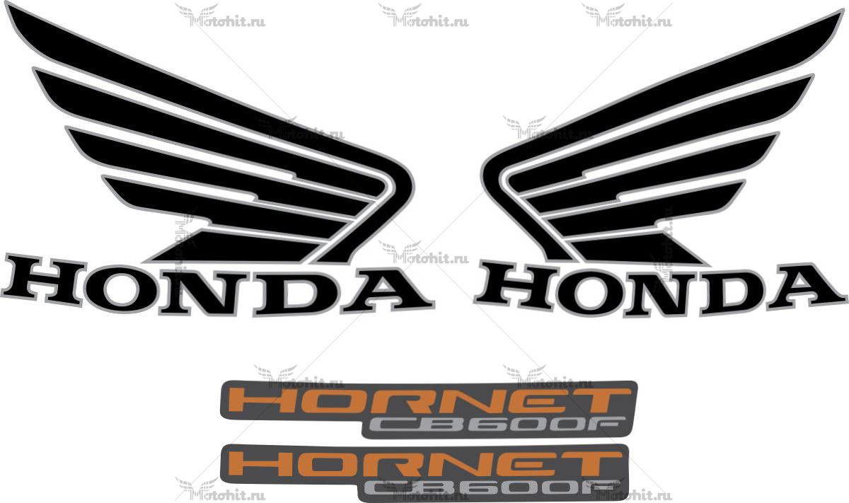 Комплект наклеек Honda CB-600-F 2010-HORNET-BLACK
