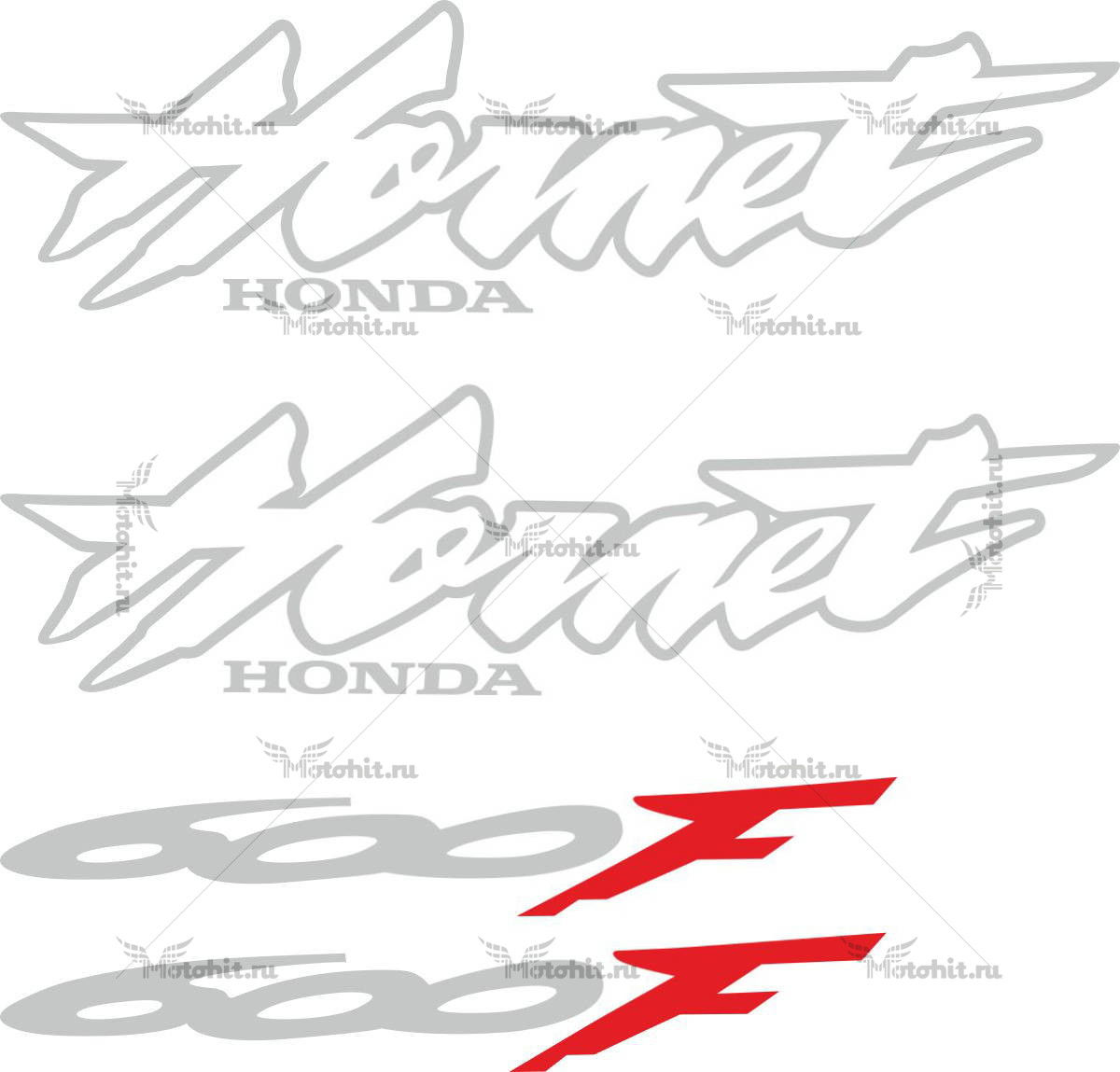 Комплект наклеек Honda CB-600-F HORNET 2002 SILVER