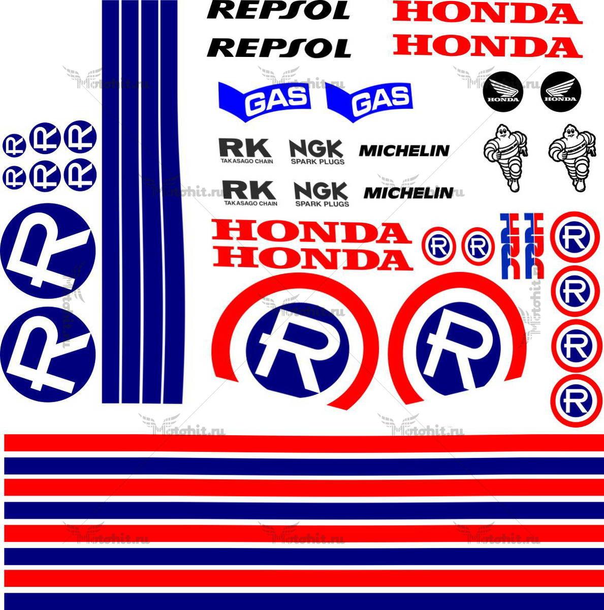Комплект наклеек Honda CB-900 REPSOL-RETRO