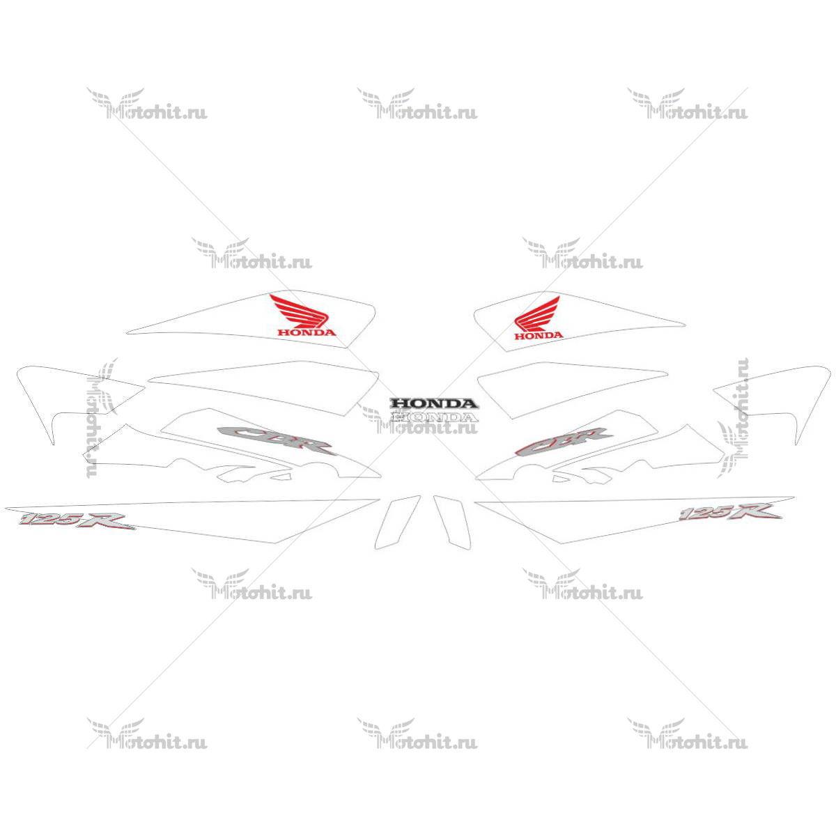 Комплект наклеек Honda CBR-125-R 2007-2009 RED