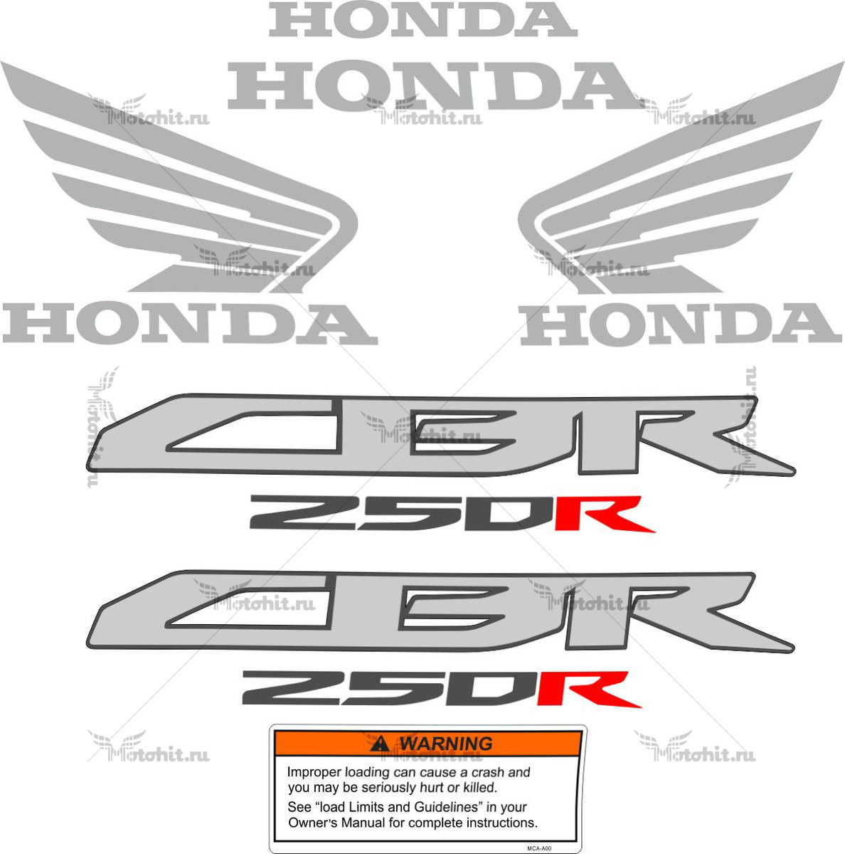 Комплект наклеек Honda CBR-250-RR 2012-2015 FOR-BLACK