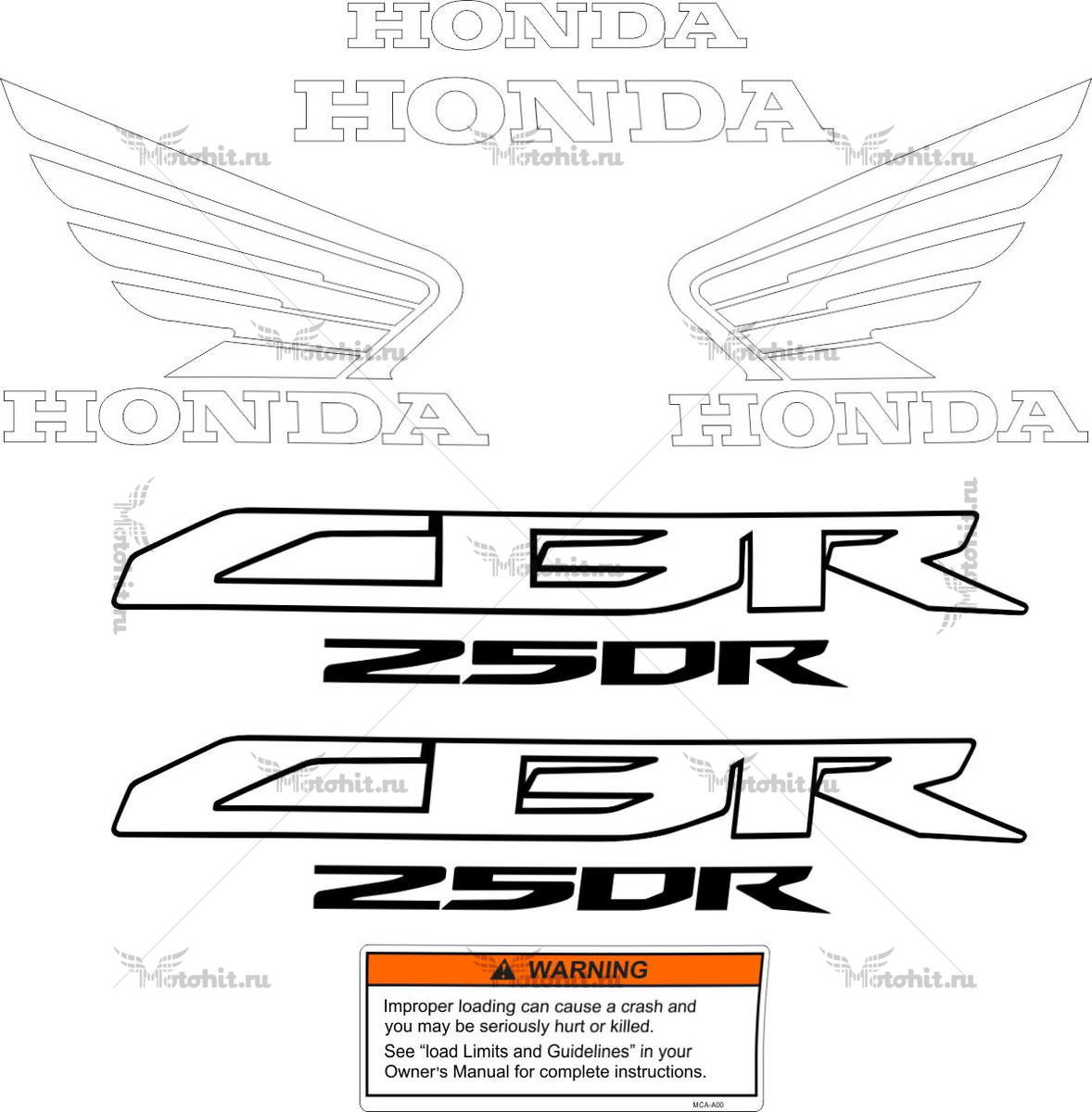 Комплект наклеек Honda CBR-250-RR 2012-2015 FOR-RED