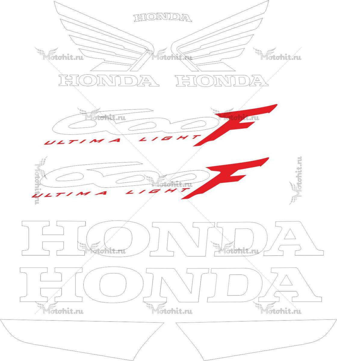 Комплект наклеек Honda CBR-600-F 2004 WHITE-TXT