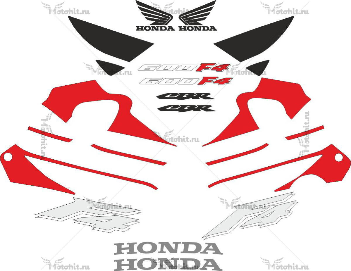 Комплект наклеек Honda CBR-600-F4 1999 RED