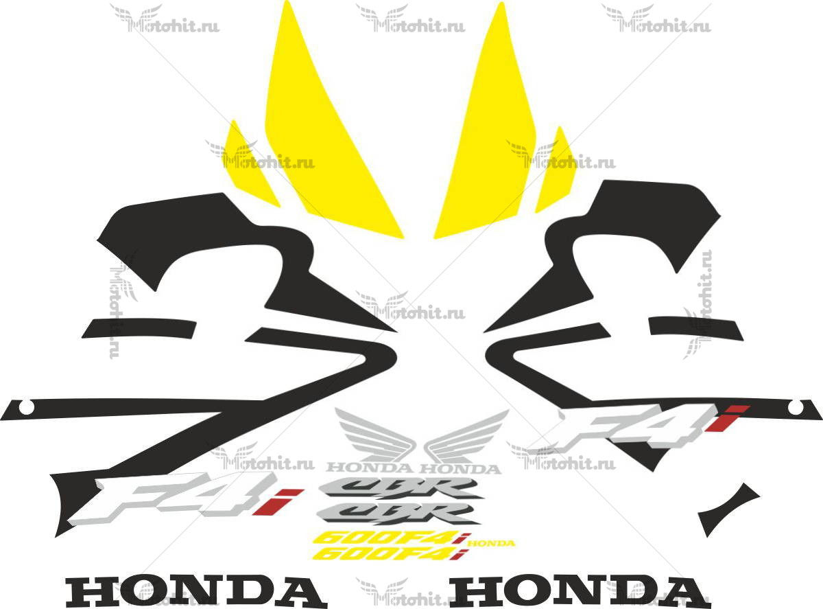 Комплект наклеек Honda CBR-600-F4I 2001-2005 FOR-YELLOW