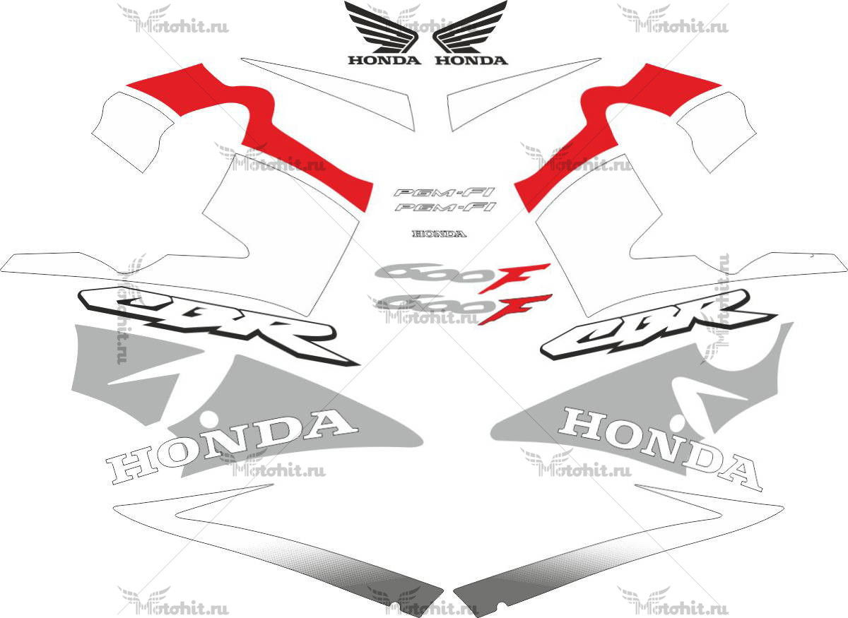Комплект наклеек Honda CBR-600-F4I 2001-2006 FOR-BLUE-RED