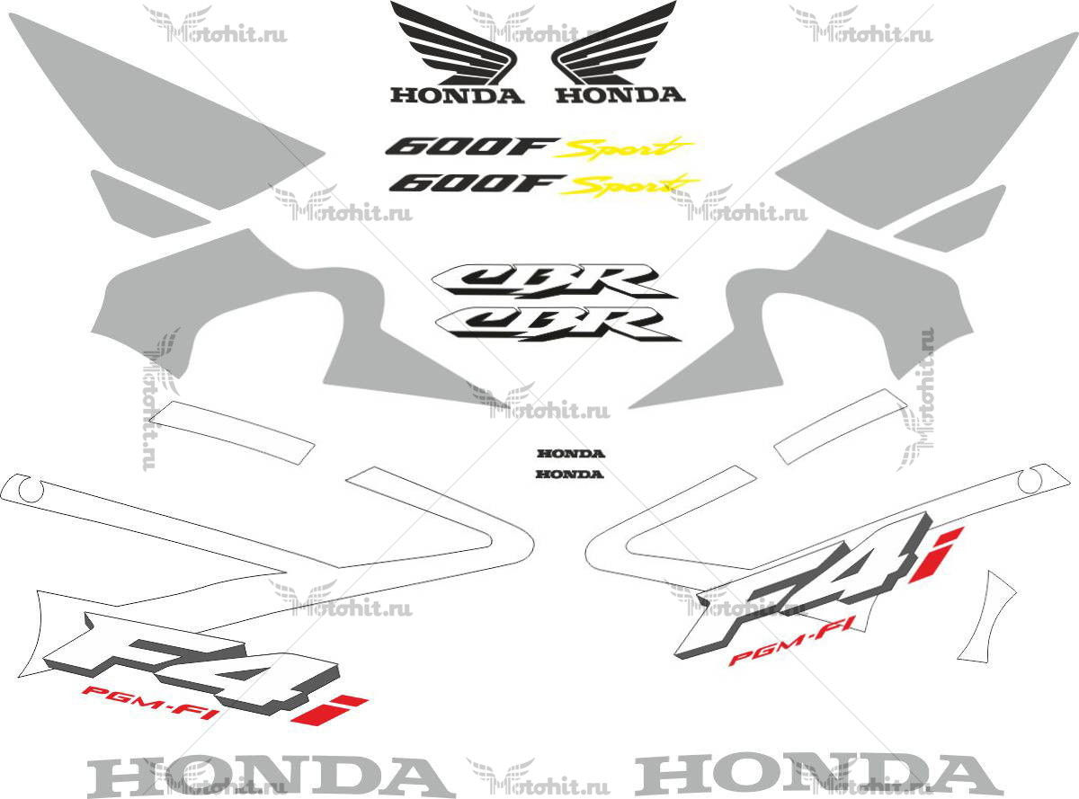 Комплект наклеек Honda CBR-600-F4I 2001-2006 SILVER
