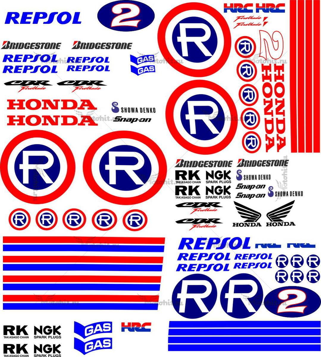 Комплект наклеек Honda CBR-600-RR 1998