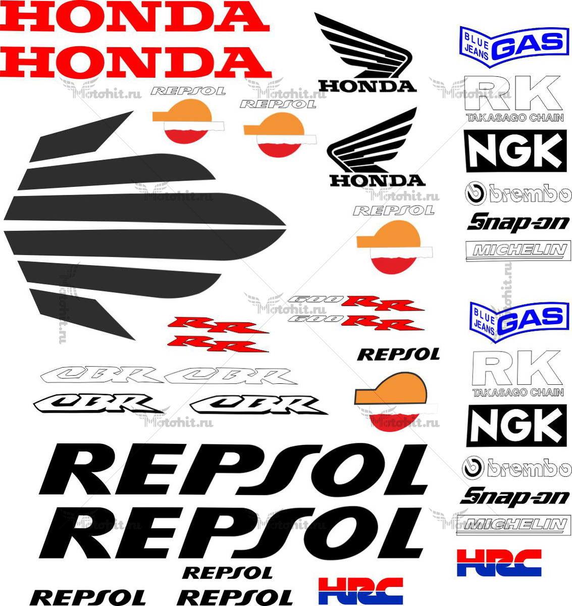 Комплект наклеек Honda CBR-600-RR 2004 REPSOL