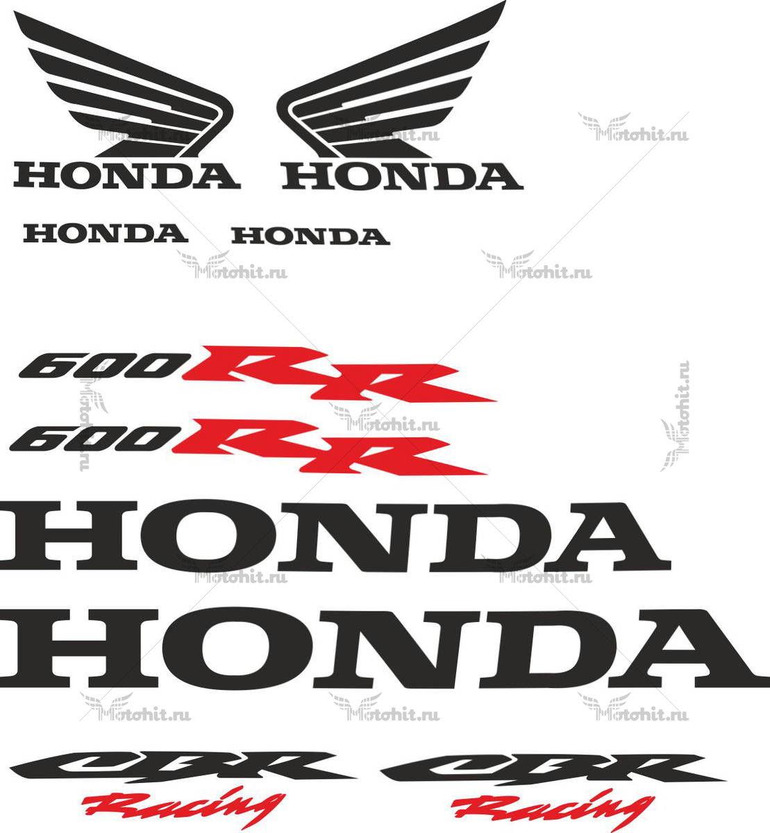 Комплект наклеек Honda CBR-600-RR 2006 4-BLACK