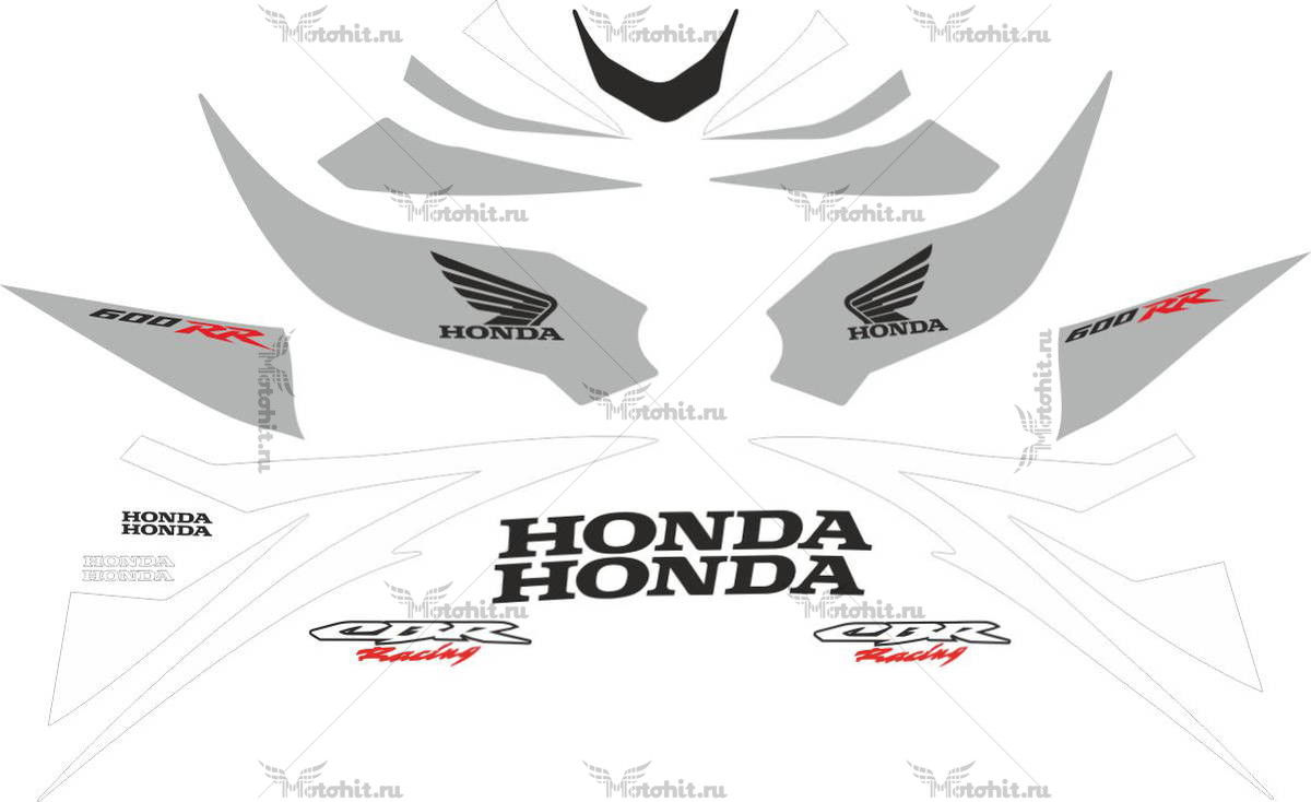 Комплект наклеек Honda CBR-600-RR 2007 SILVER-WHITE