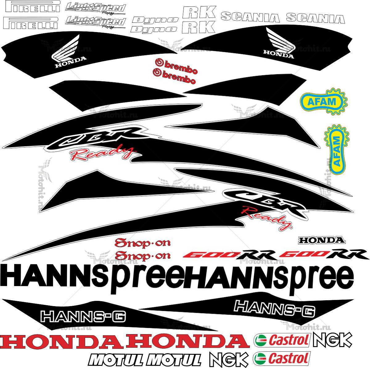 Комплект наклеек Honda CBR-600-RR HANNSPREE-CLEAN