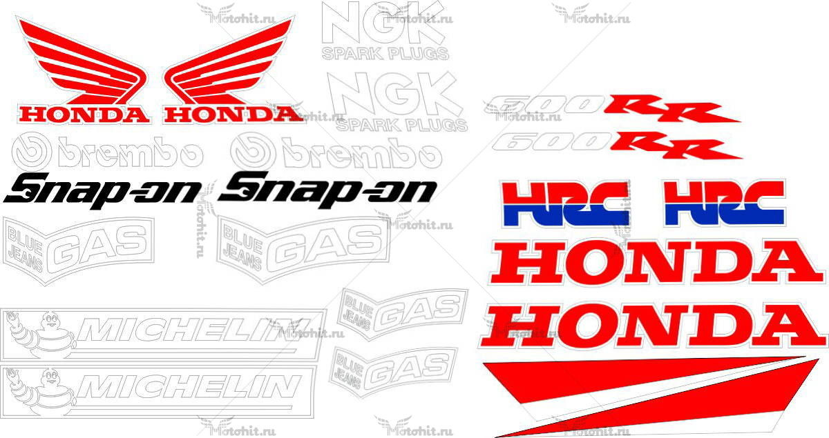 Комплект наклеек Honda CBR-600-RR RACING-NEGRA