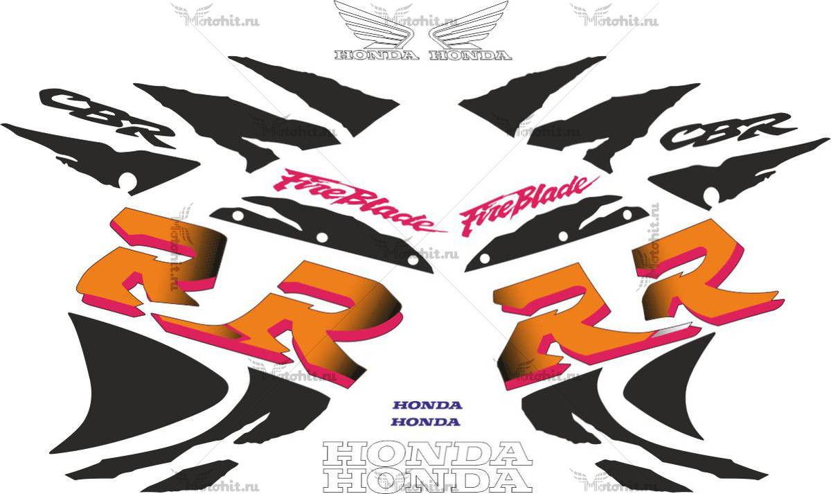 Комплект наклеек Honda CBR-900-RR 1998-1999 BLACK-ORANGE