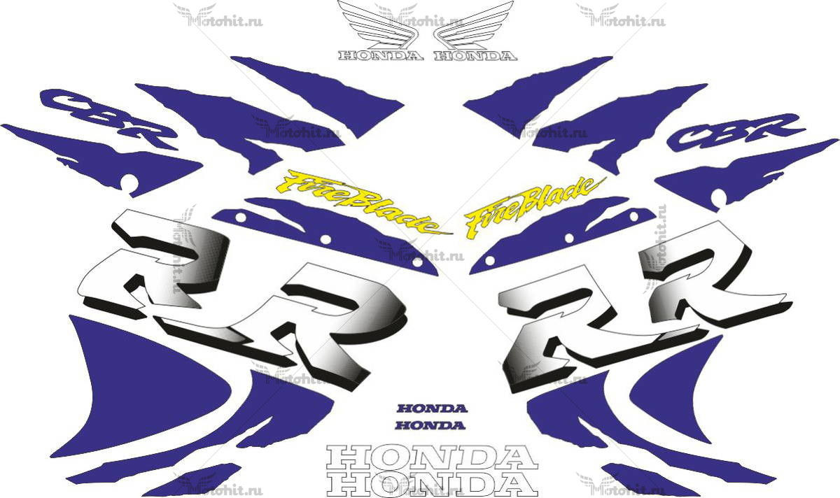 Комплект наклеек Honda CBR-900-RR 1998-1999 FOR-RED