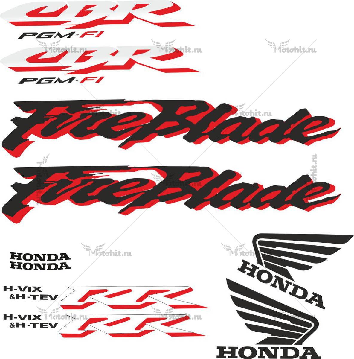 Комплект наклеек Honda CBR-900-RR 2001 LIGHT-SILVER