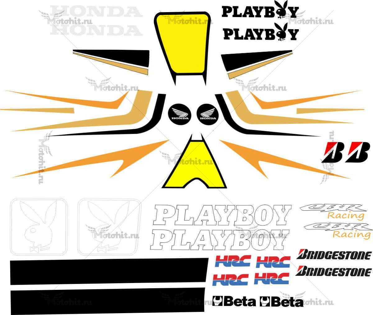 Комплект наклеек Honda CBR PLAYBOY
