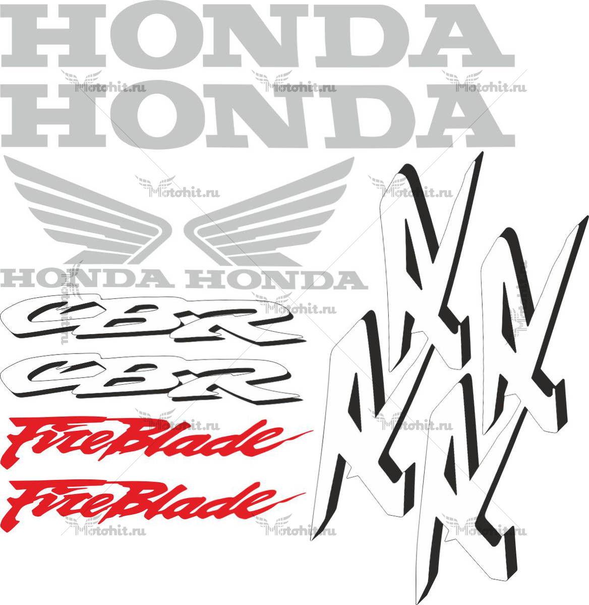 Комплект наклеек Honda CBR-1000-RR 2002 FIREBLADE-WHITE