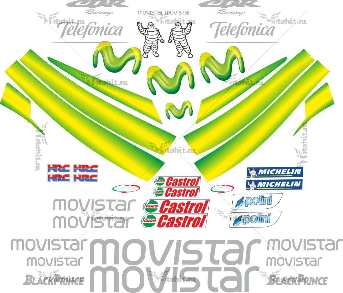 Комплект наклеек Honda CBR-1000-RR 2004-2007 MOVISTAR