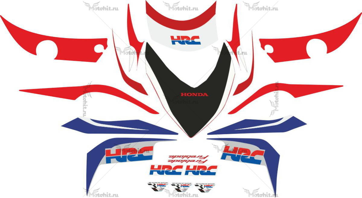 Комплект наклеек Honda CBR-1000-RR 2009 HRC-BLUE-RED