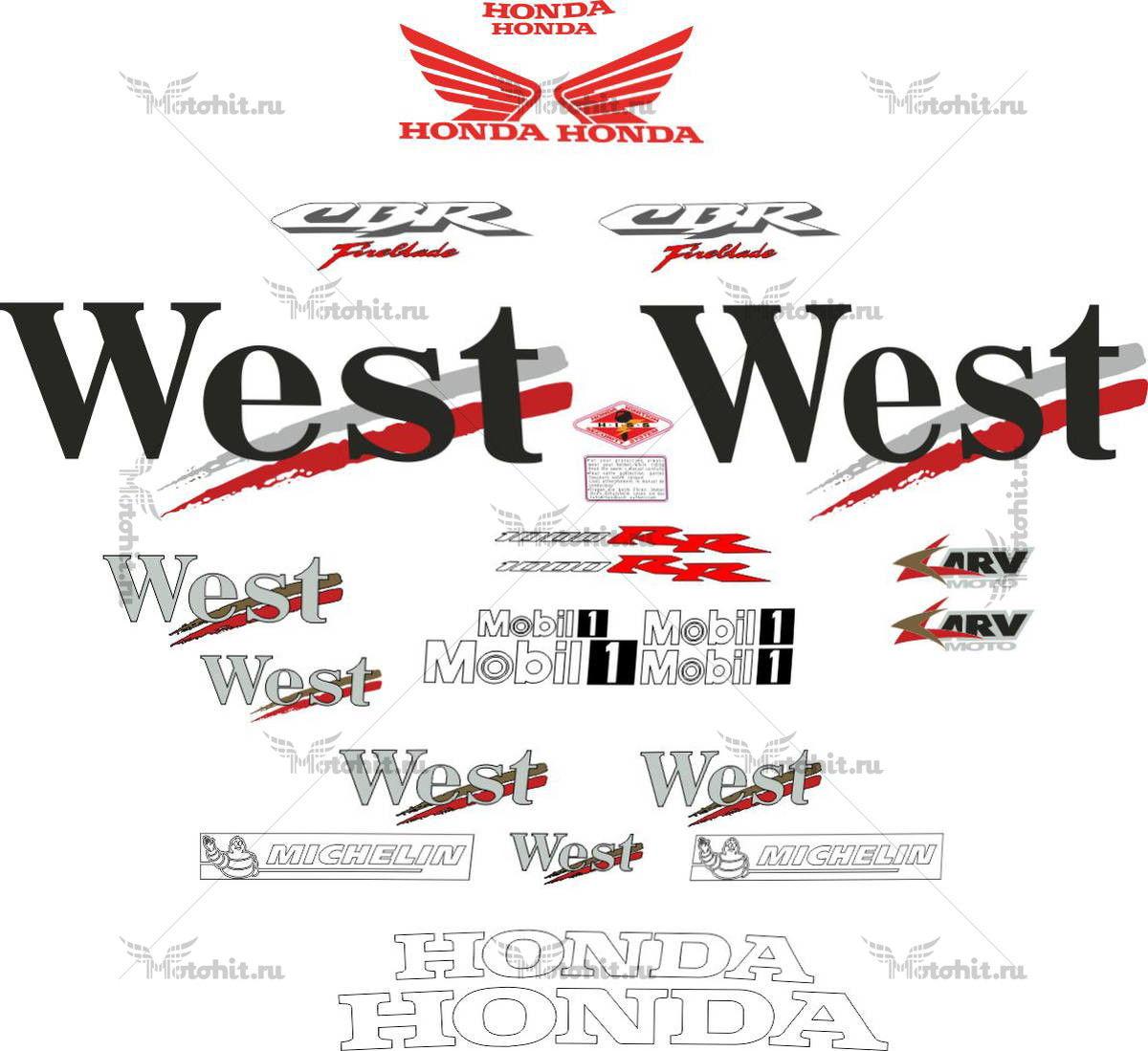 Комплект наклеек Honda CBR-1000-RR WEST