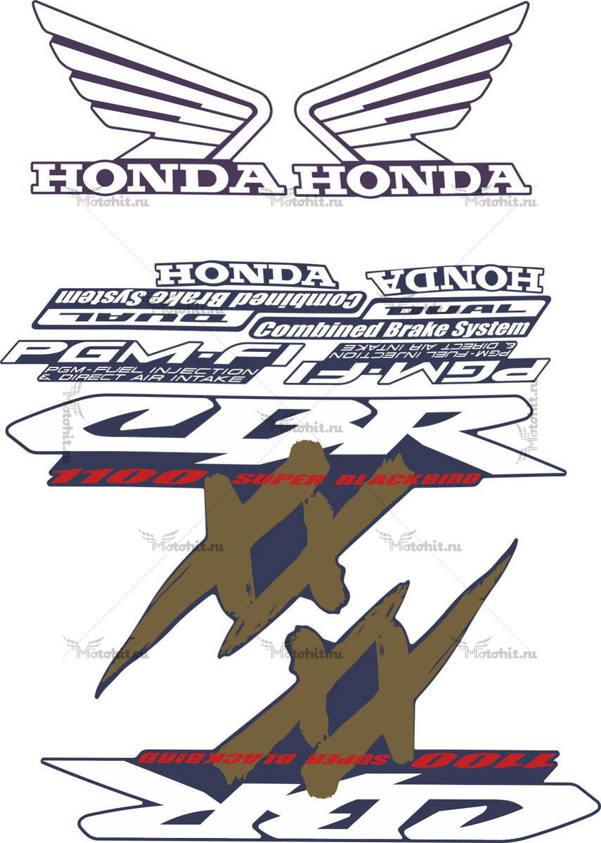 Комплект наклеек Honda CBR-1100-XX 1997-2004