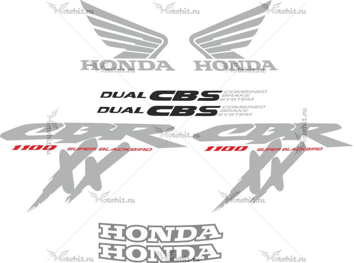 Комплект наклеек Honda CBR-1100-XX 1997 BLACKBIRD