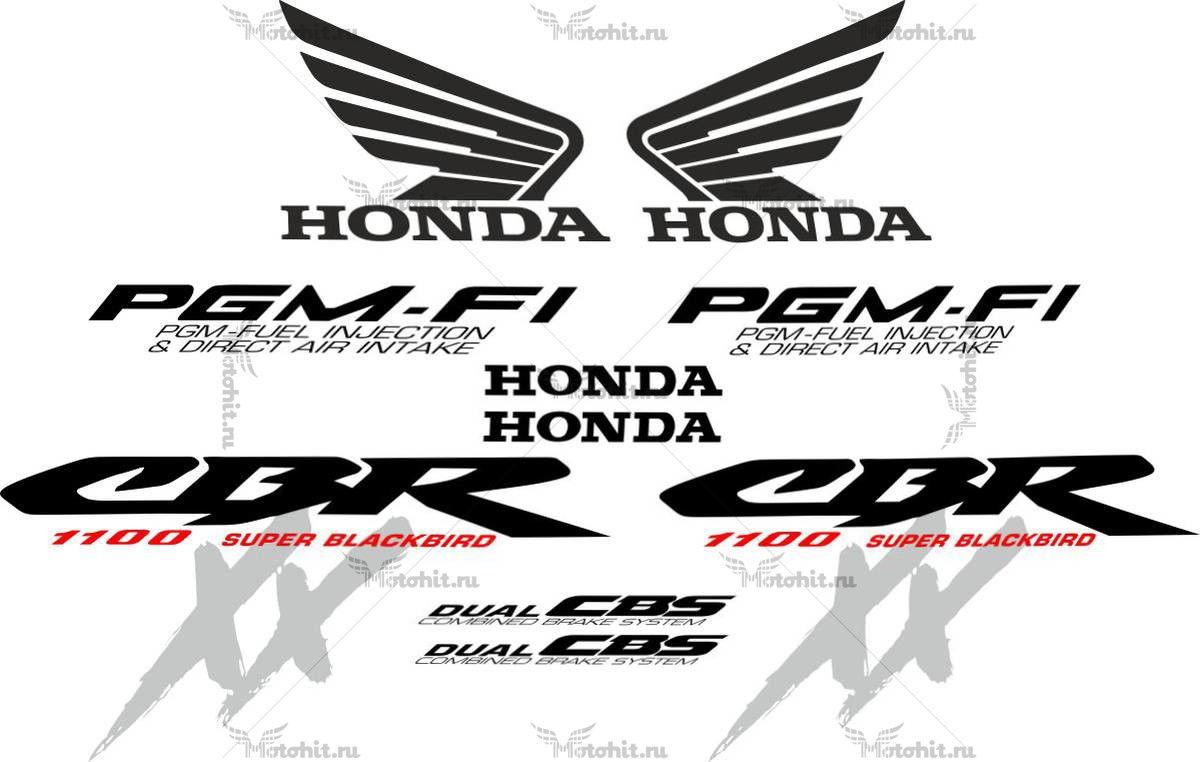 Комплект наклеек Honda CBR-1100-XX 2000 BLACKBIRD