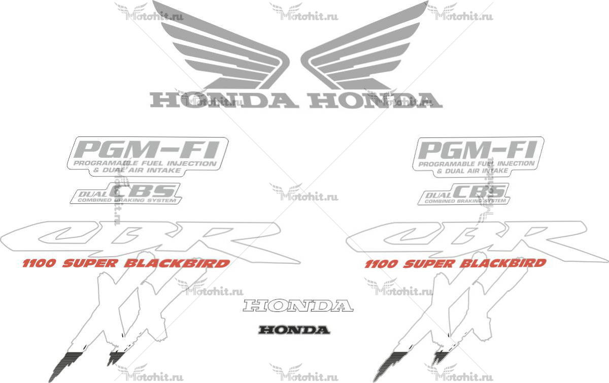 Комплект наклеек Honda CBR-1100-XX BLACKBIRD