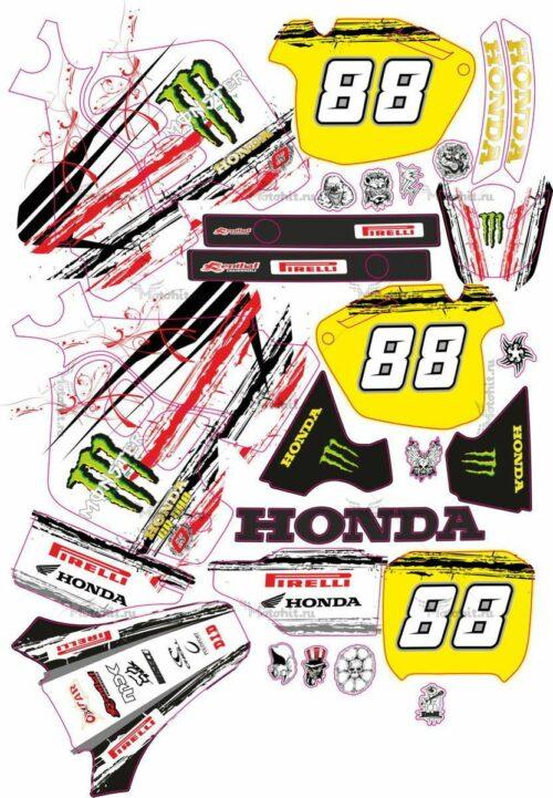 Комплект наклеек Honda CR-500 WHITE-MONSTER
