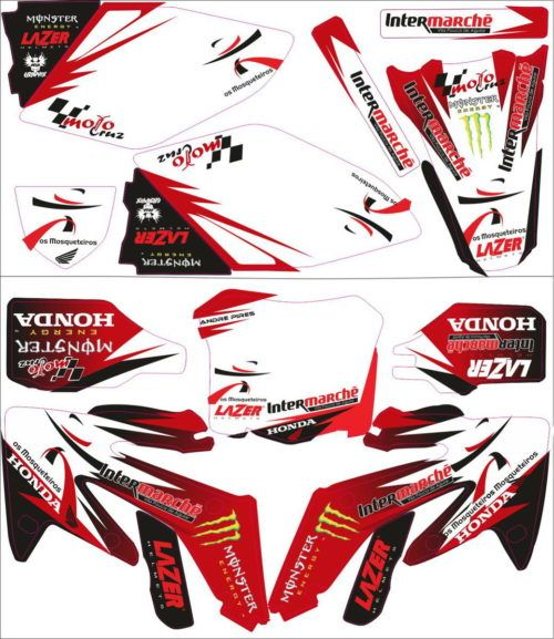 Комплект наклеек Honda CRF-250 CRF-450 2007-2008 MONSTER-RED