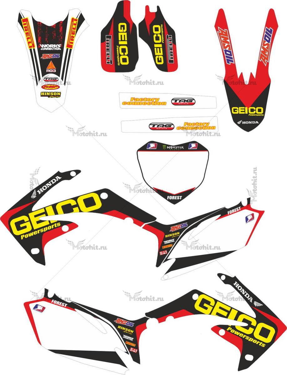Комплект наклеек Honda CRF-250 CRF-450 2009-2010