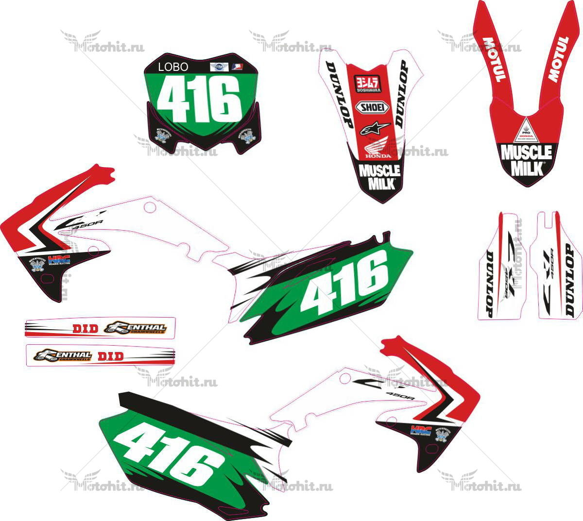 Комплект наклеек Honda CRF-250 CRF-450 2010-2013