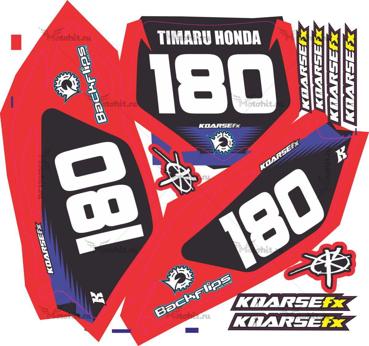 Комплект наклеек Honda CRF-250 CRF-450 2012 TIMARU