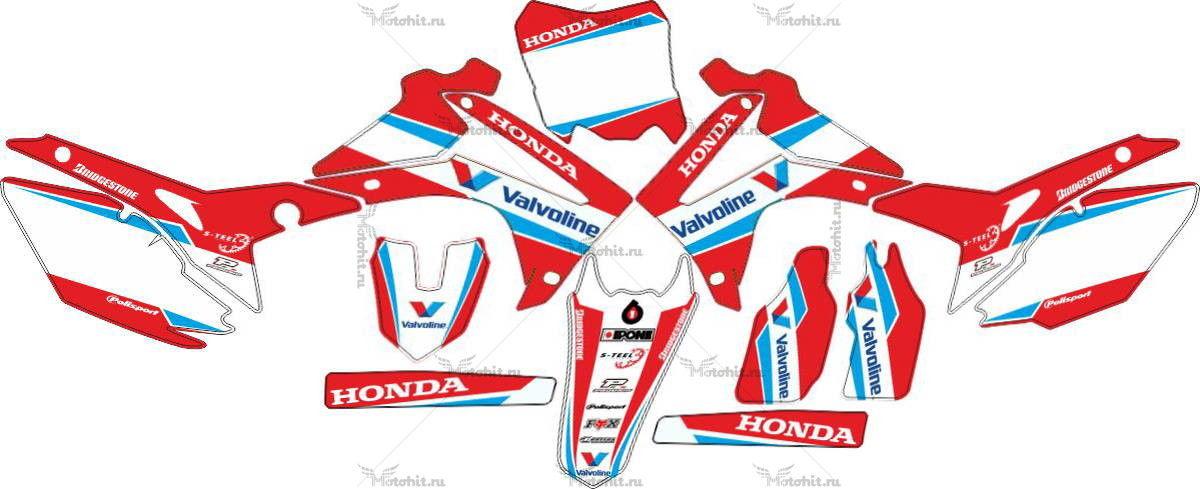 Комплект наклеек Honda CRF-250 CRF-450 2013-2014 VALVOLINE