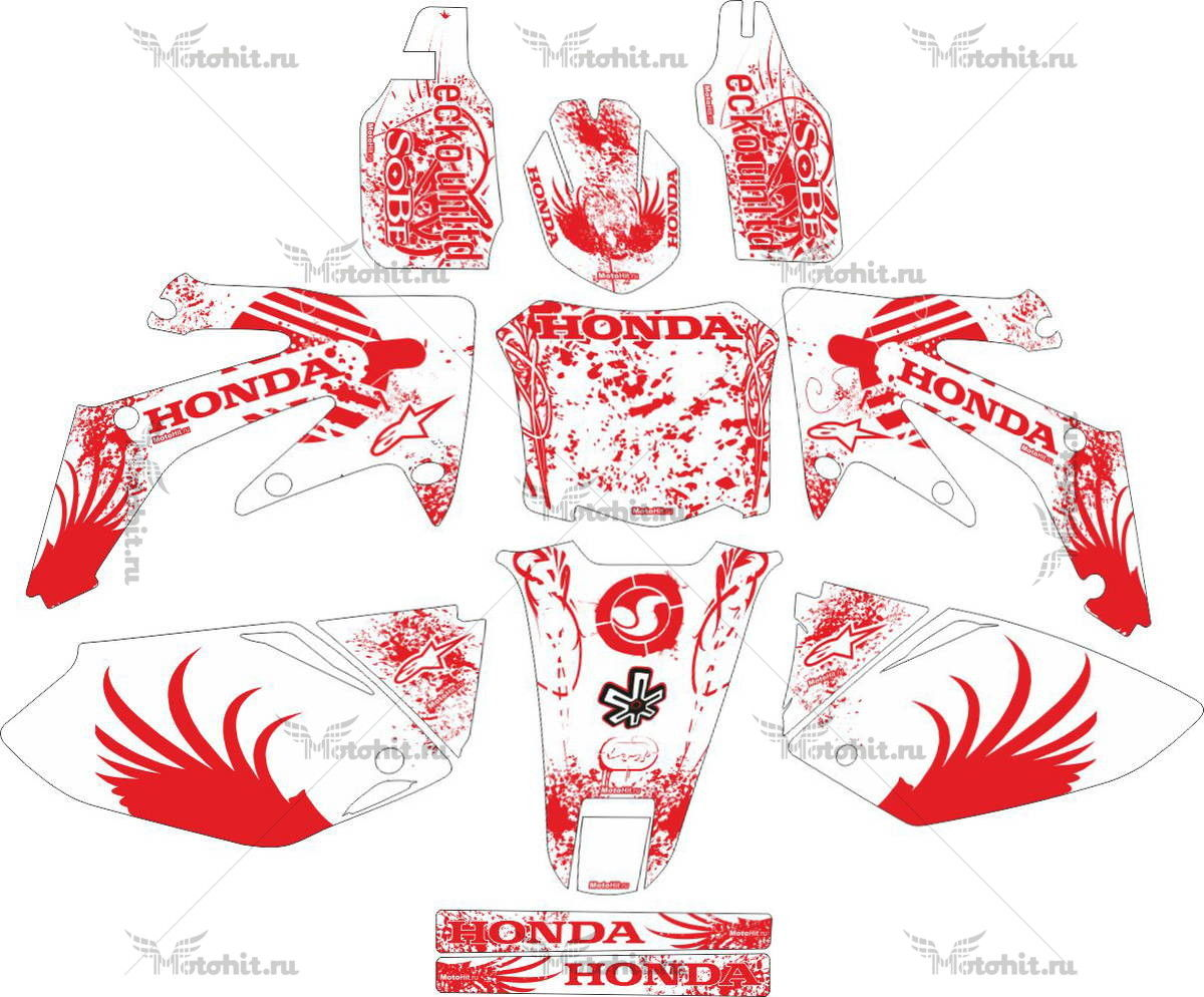Комплект наклеек Honda CRF-250-R 2004-2007-WHITE-RED