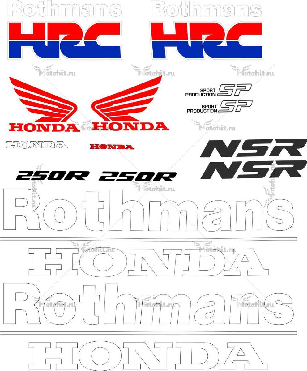 Комплект наклеек Honda NSR-250 ROTHMANS TXT