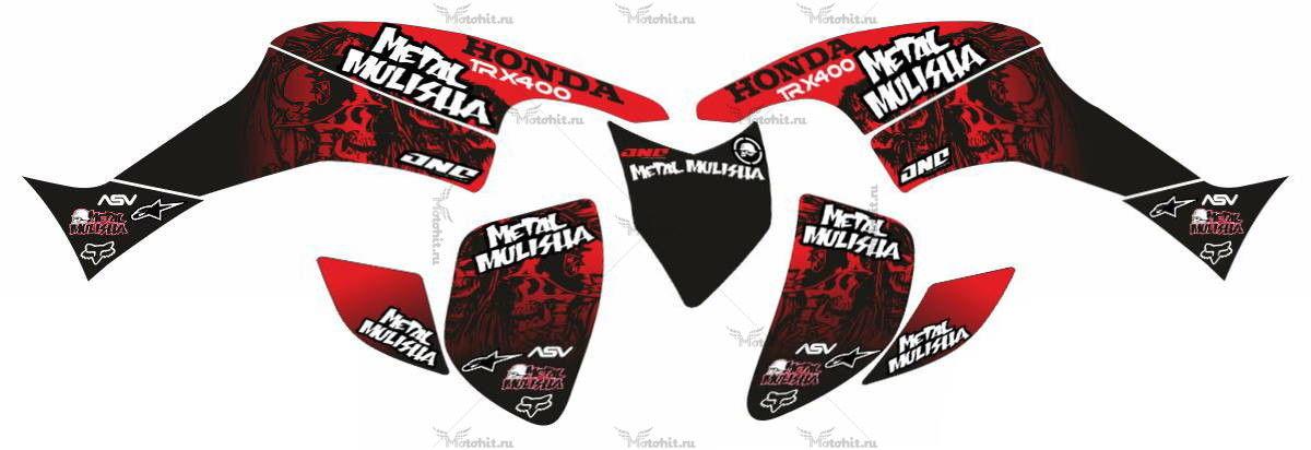 Комплект наклеек Honda TRX-400 METAL-MULISHA-RED