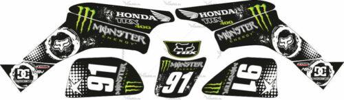 Комплект наклеек Honda TRX-400 MONSTER-BLACK-WHITE