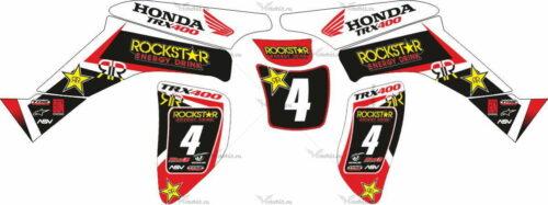 Комплект наклеек Honda TRX-400 ROCKSTAR-WHITE-RED