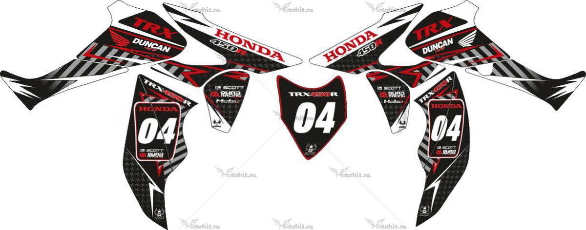 Комплект наклеек Honda TRX-450 DUNCAN-RED