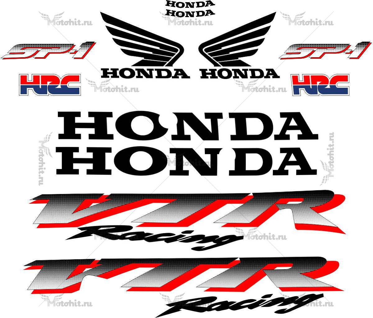 Комплект наклеек Honda VTR-1000 2000-2001 RC51-SP1-TXT