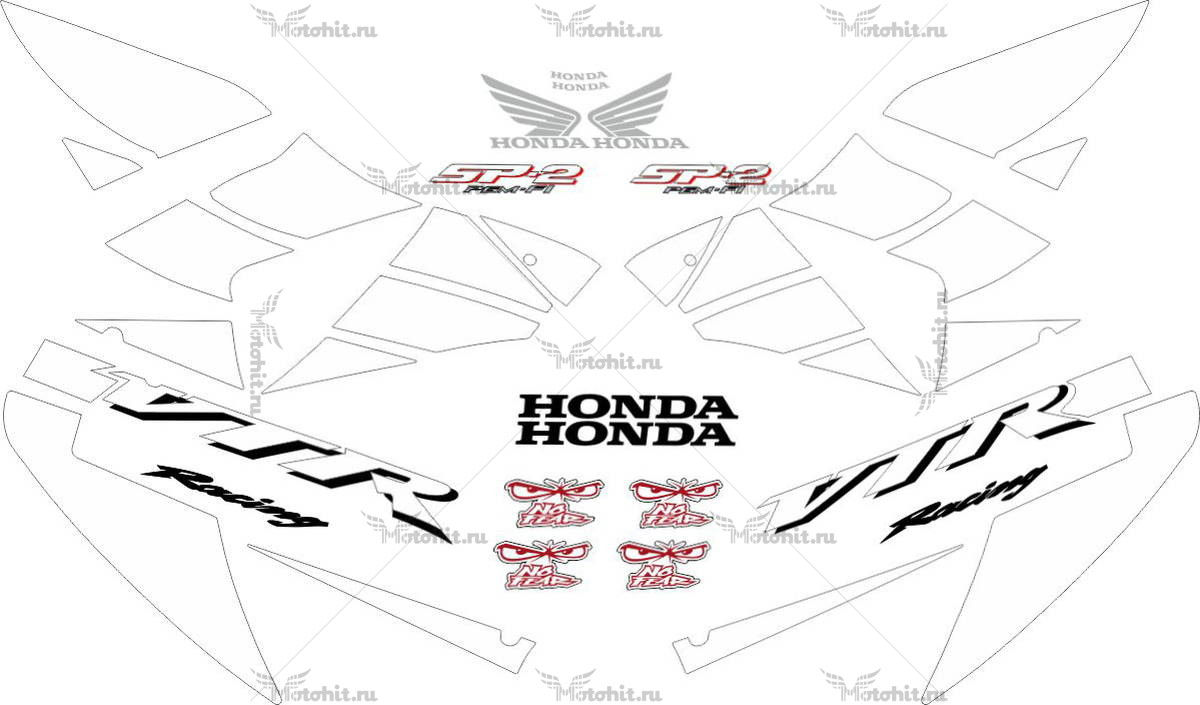 Комплект наклеек Honda VTR-1000 2002-2006 RC51-SP2-WHITE